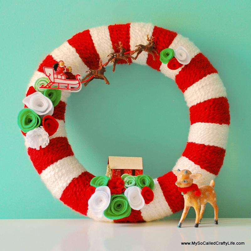 Christmas Wreath Craft Ideas Part - 46: DIY Retro Christmas Yarn Wreath