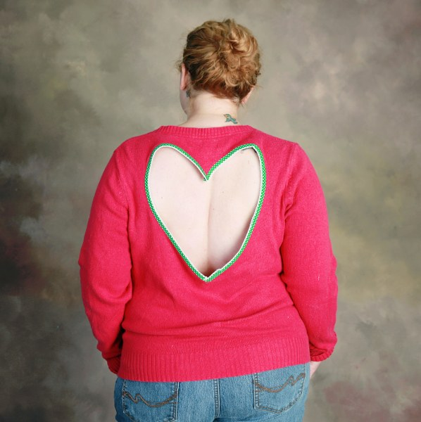 diy heart back sweater