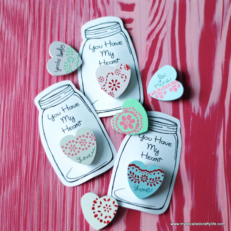 stenciled heart pins