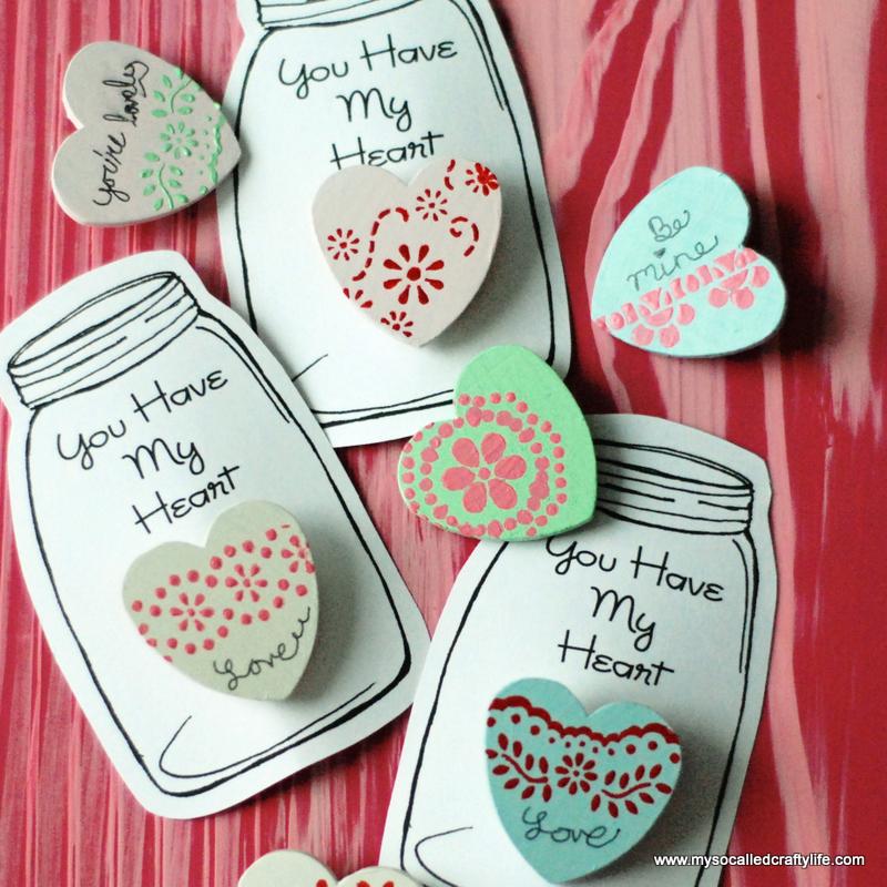 diy stenciled wooden heart pins