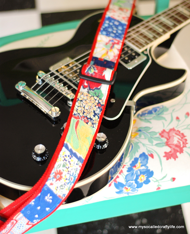 diy vintage feedsack patchwork guitar strap