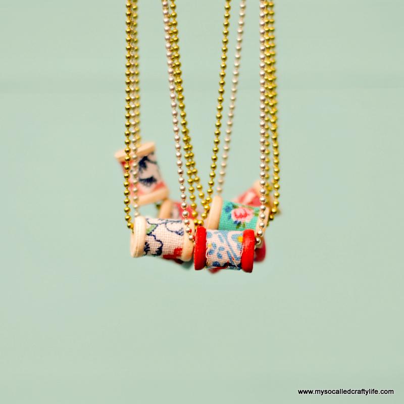 vintage feedsack spool necklace