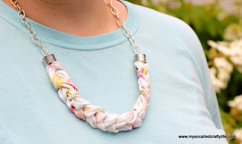 DIY Chunky Braided Vintage Fabric Necklace My So Called Crafty Life - Diy braided necklace