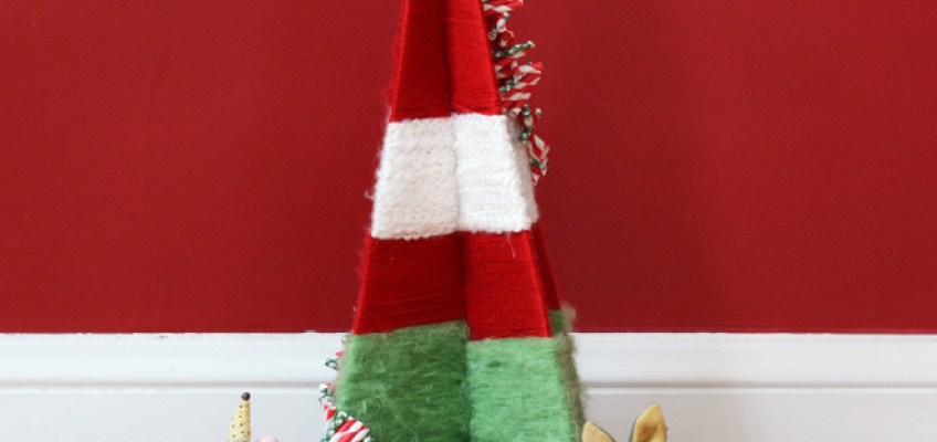 DIY Vintage Yarn Wrapped Christmas Tree