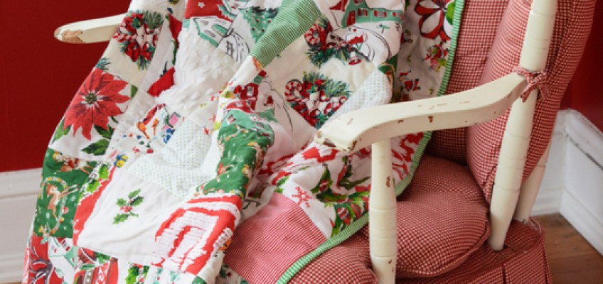 DIY Christmas Patchwork Throw Blanket