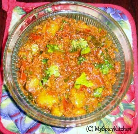 tomato ukkera, tomato lima beans curry, tomato curry