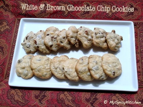 White & brown chocolate chip cookies