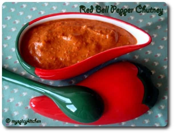 Red bell pepper chutney, Red bell pepper pachadi