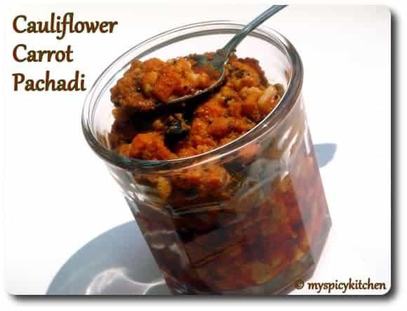 Carrot Cauliflower Pachadi, Carrot Pachadi, Cauliflower Pachadi, Gobhi Achar, Gajar Achar,