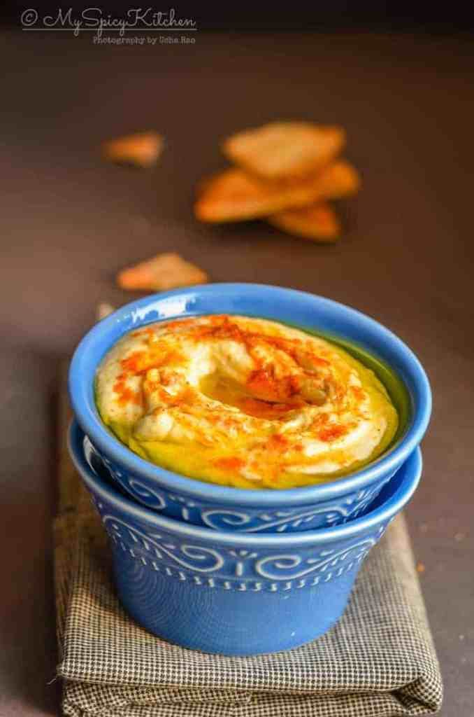 Hummus, Bowl of Israeli Hummus, is a  Chickpeas Dip or a  Condiment from Middle East and is part of Levantine Cuisine,