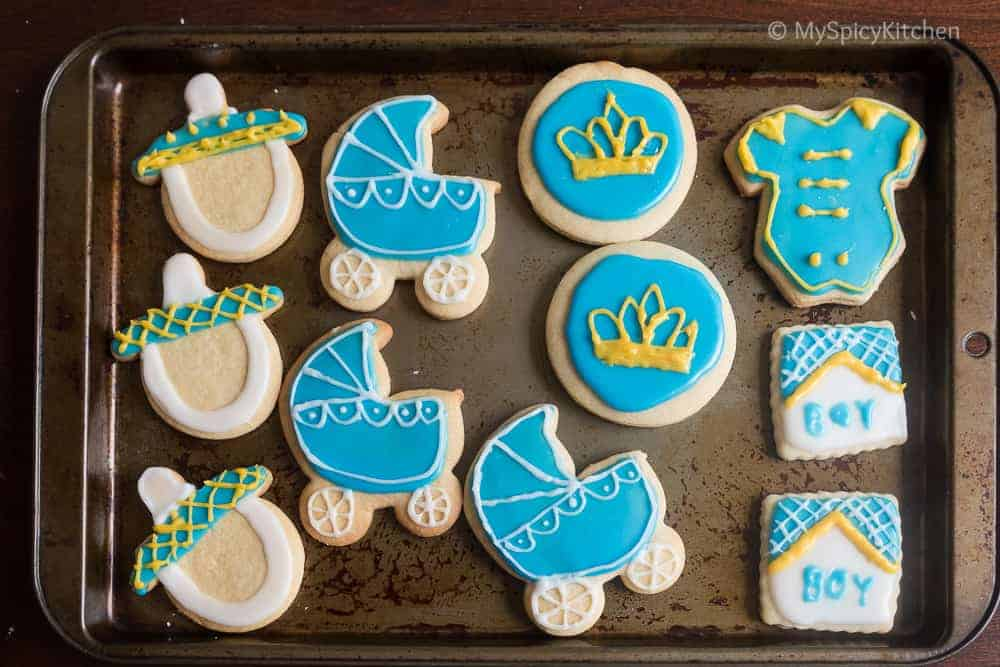 Glaze Icing and Frosted Baby Shower Cookies