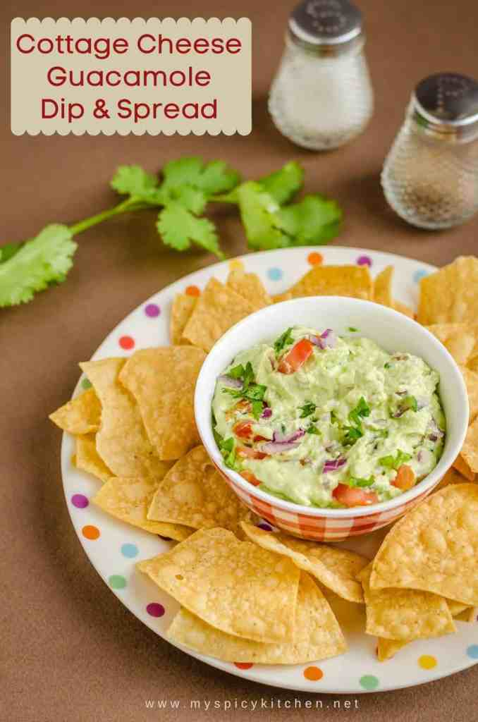 A bowl of cottage cheese guacamole dip with chips