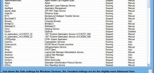 SMART Utility to safely tweak Windows 7 services