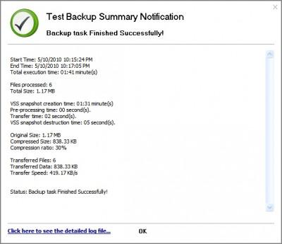 GFI Backup - Backup task log