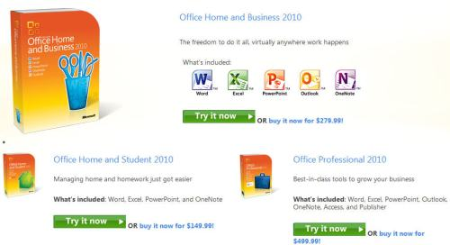 Try Microsoft Office 2010 Retail editions