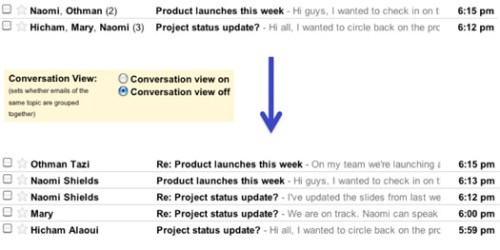 gmail threaded view