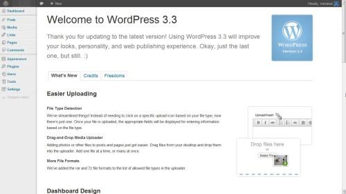 WordPress 3.3 Welcome Screen