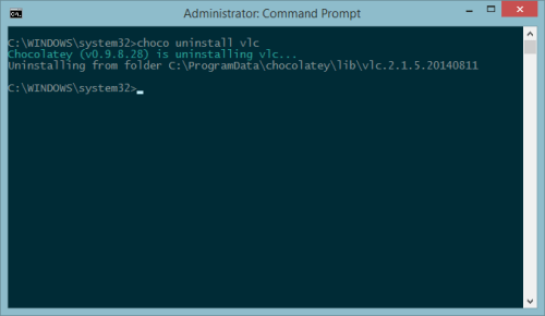 uninstall program using chocolatey package manager