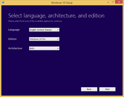 Select Windows 10 language and edition