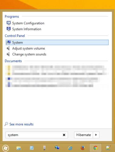 Click on System to open Windows System window