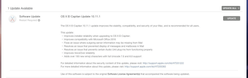 OS X 10.11.1 El Capitan Update