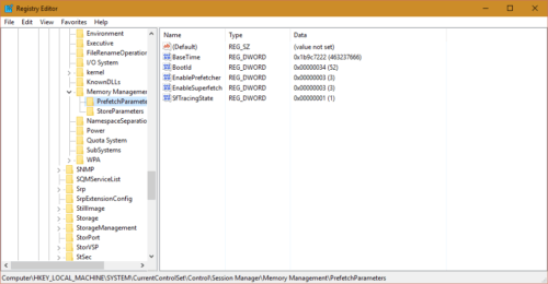 enable or disable superfetch in windows using registry