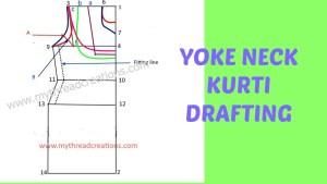 How to make yoke neck kurti / tunic draft