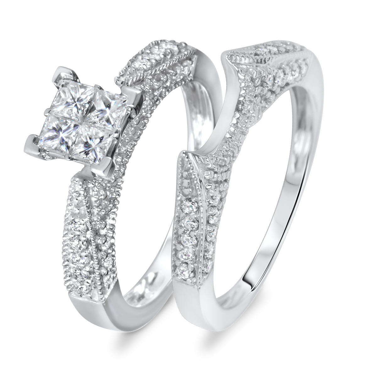 14k white gold solitaire bezel cz wedding rings set bridal wedding ring sets Wear a beautiful reminder of your commitment to your love This wedding ring set