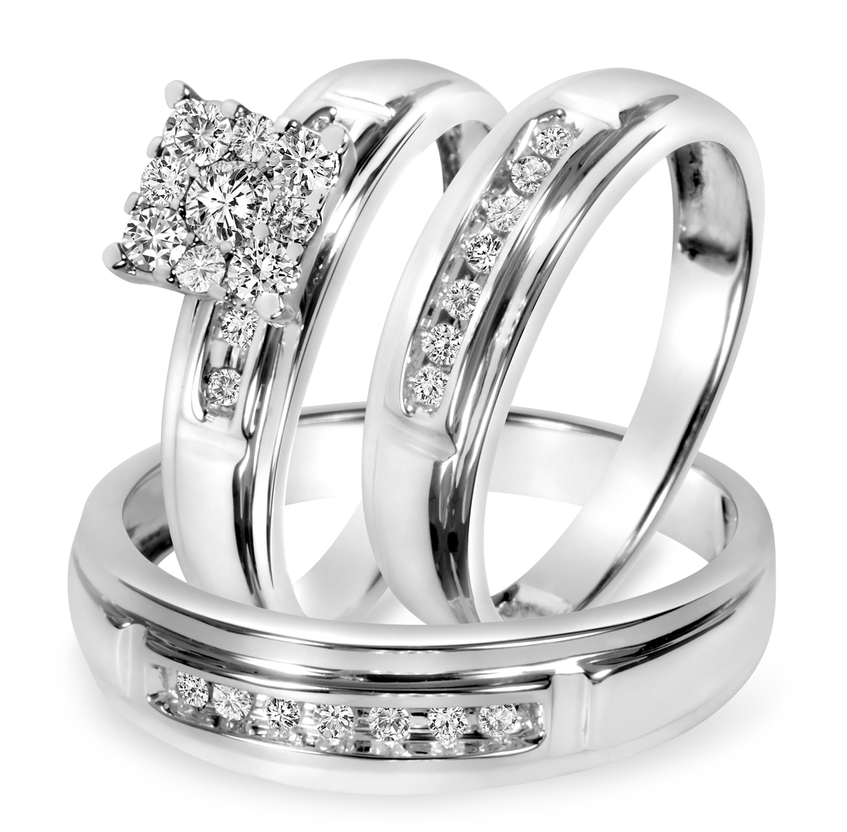 cushion cubic zirconia sterling silver 2pc halo bridal ring set 46 ct jewelry r cl wedding rings set Sterling Silver Cushion CZ Halo Ring Set 0 CTW