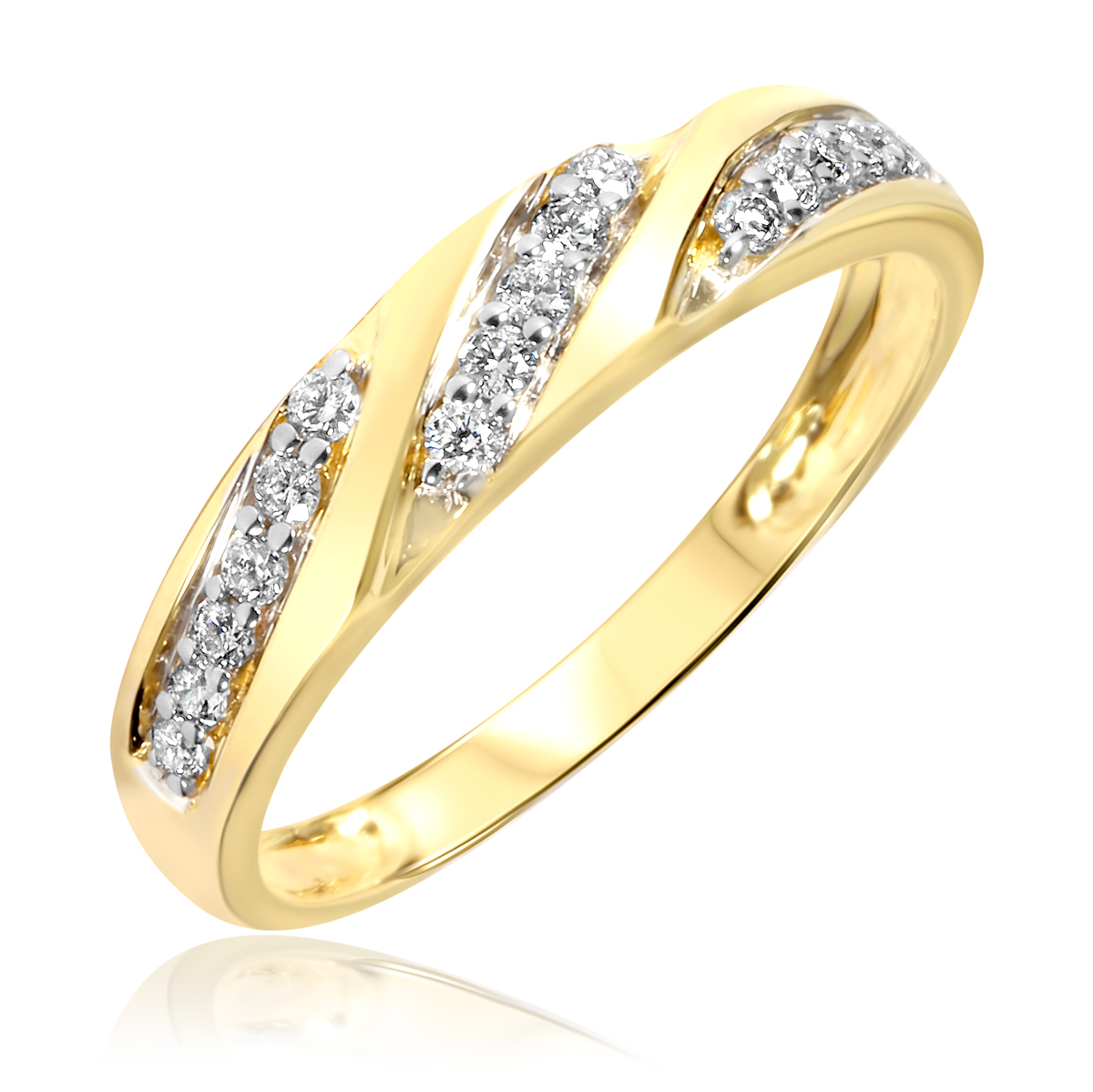 two tone 14k gold cz cluster solitaire wedding ring set trio wedding ring set Wear something beautiful every day This trio of wedding rings