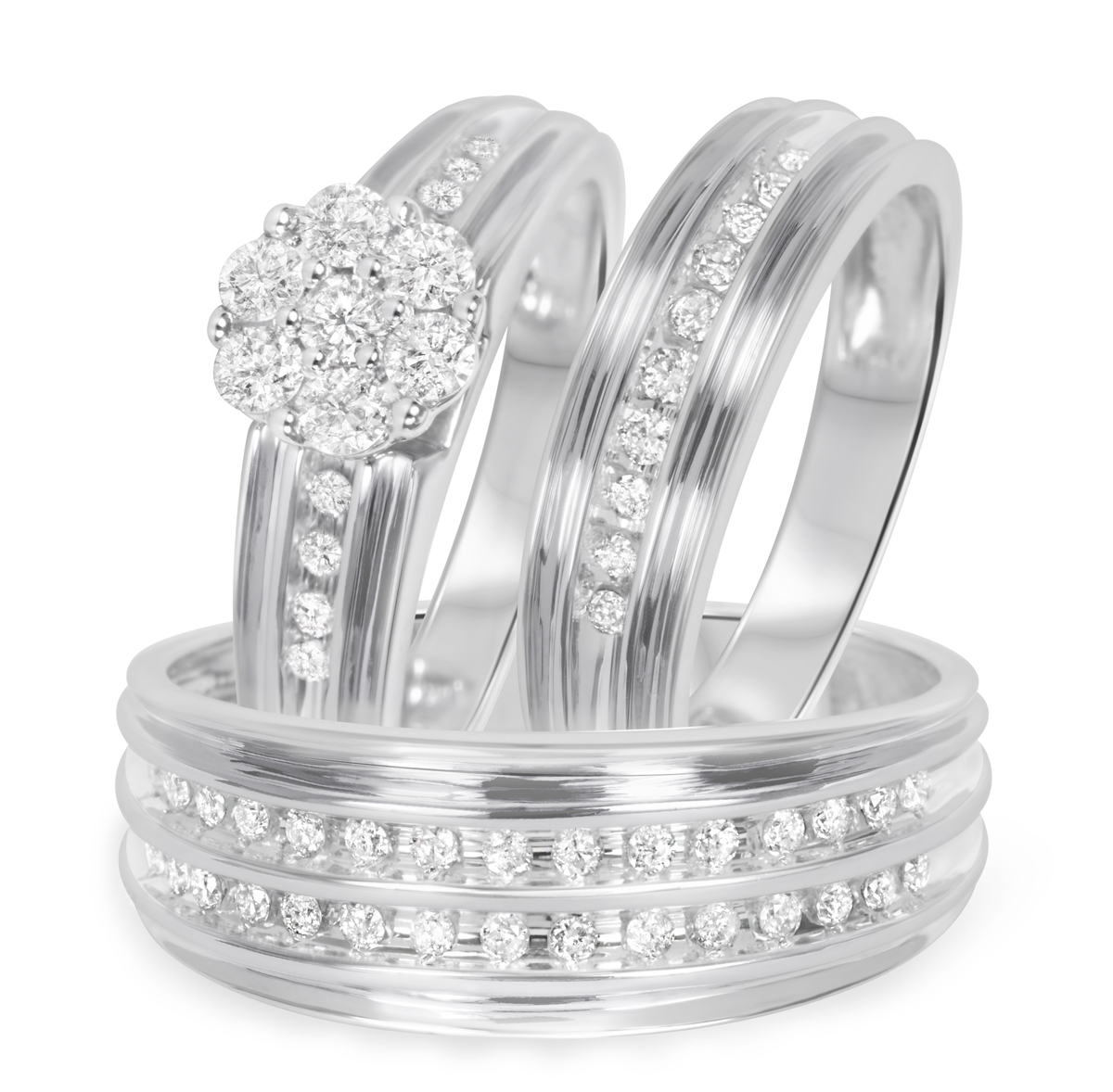 14k solid white yellow gold xo cz wedding rings trio trio wedding ring set Express