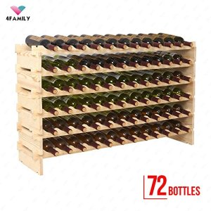 72 Bottles Holder Wine Rack Solid Wood Display Shelves