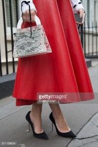 LONDON, ENGLAND - SEPTEMBER 18 : Fashion blogger Nicky from My Wish Style wears Domenico Cioffi skirt, Kiwi and Pomelo bag and Sophia Webster shoes on day 3 of London Womens Fashion Week Spring/Summer 2017, on September 18, 2016 in London, England. (Photo by Kirstin Sinclair/Getty Images)