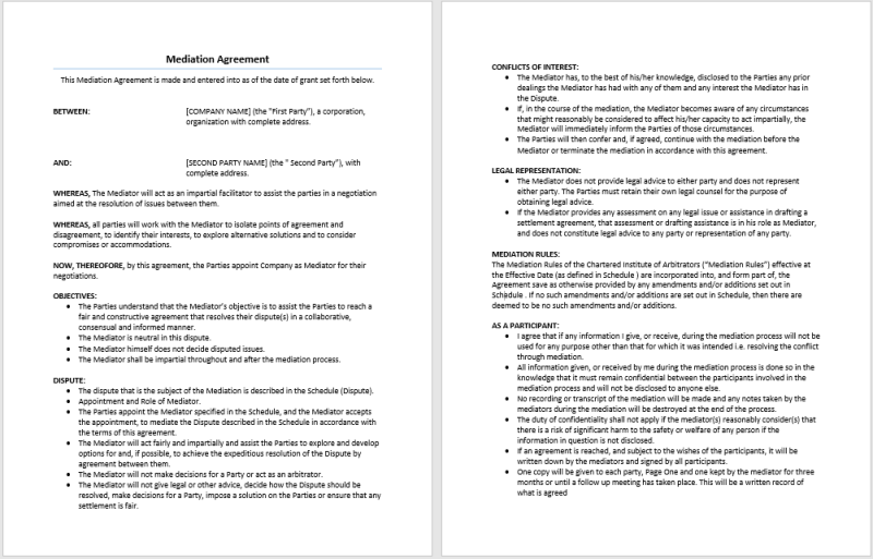 Old Fashioned Mediation Agreement Template Elaboration - Best Resume ...