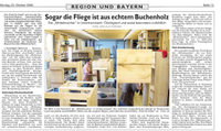 """Artikel in den Nürnberger Nachrichten erschienen """"Sogar die Fliege ist aus echtem Buchenholz"""""""