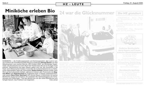 HZ berichtet über Miniköche in der Möbelmacher-Ahornküche auf BioErleben 2009