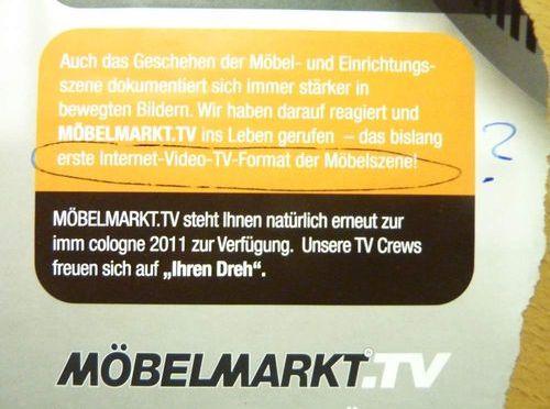 Erstes Video-TV-Format der Möbelszene?