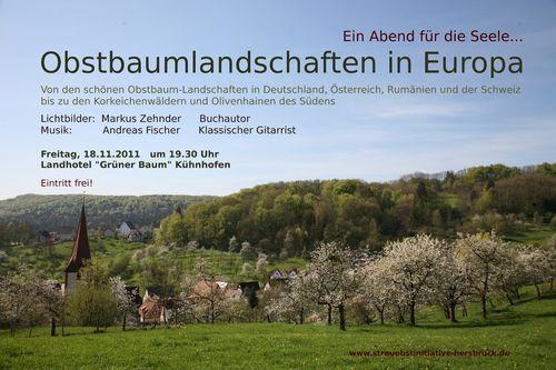 """Die Streuobstinitiative Hersbrucker Alb e.V. lädt ein zu einem Diavortrag zum Thema """"Obstbaumlandschaften in Europa"""""""