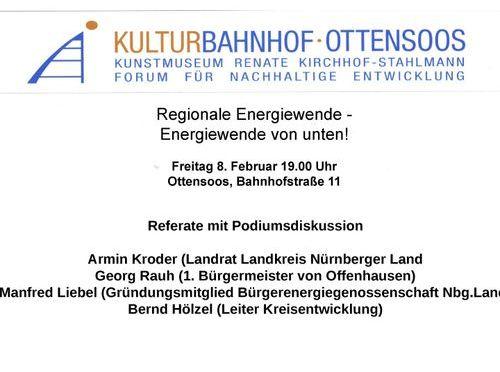 Veranstaltung zum Thema regionale Energiewende im Kulurbahnhof Ottensoos