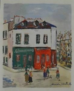 モーリス・ユトリロ/「霊感の村:バスティーユの洗濯屋」1950年/ポショワール/275000円