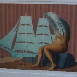 ルネ・マグリット「孤児たち:海の水の魅惑的な帆船…」1968年/リトグラフ/198000円