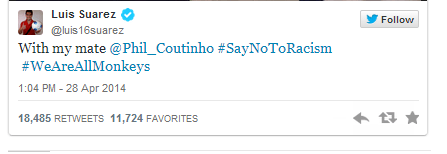 Untitled 2 We Are All Monkeys, #SayNotToRacism Luiz Suarez & Coutinho Eats Banana [See Photo + Tweets]