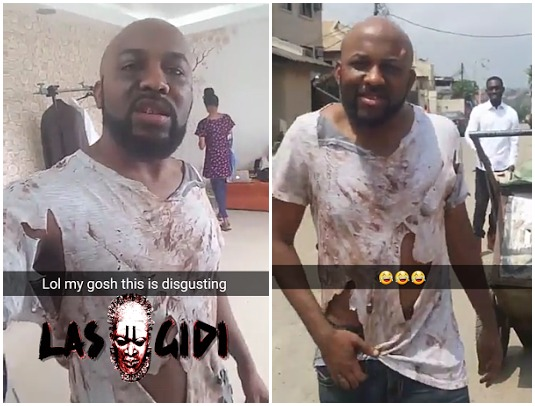 Banky W Transforms Into A Dirt-truck Pusher On The Street (Photos)
