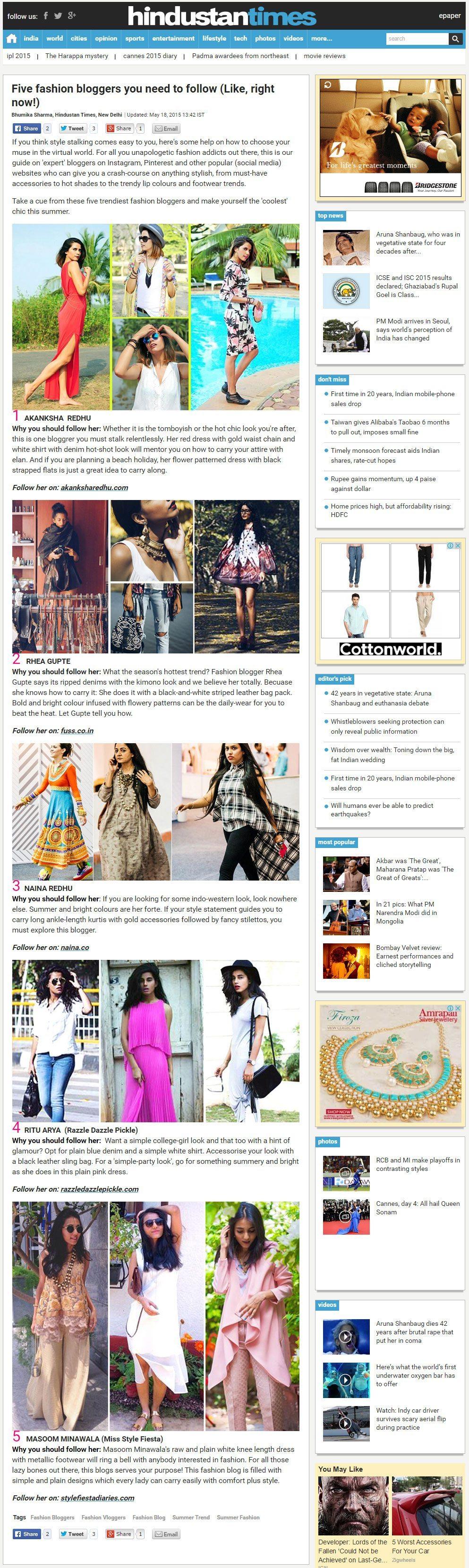 Hindustan Times, Five Fashion Bloggers To Follow, Press, Naina.co Luxury & Lifestyle, Photographer Storyteller, Blogger.