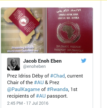 African Union Launches Diplomatic Passport.