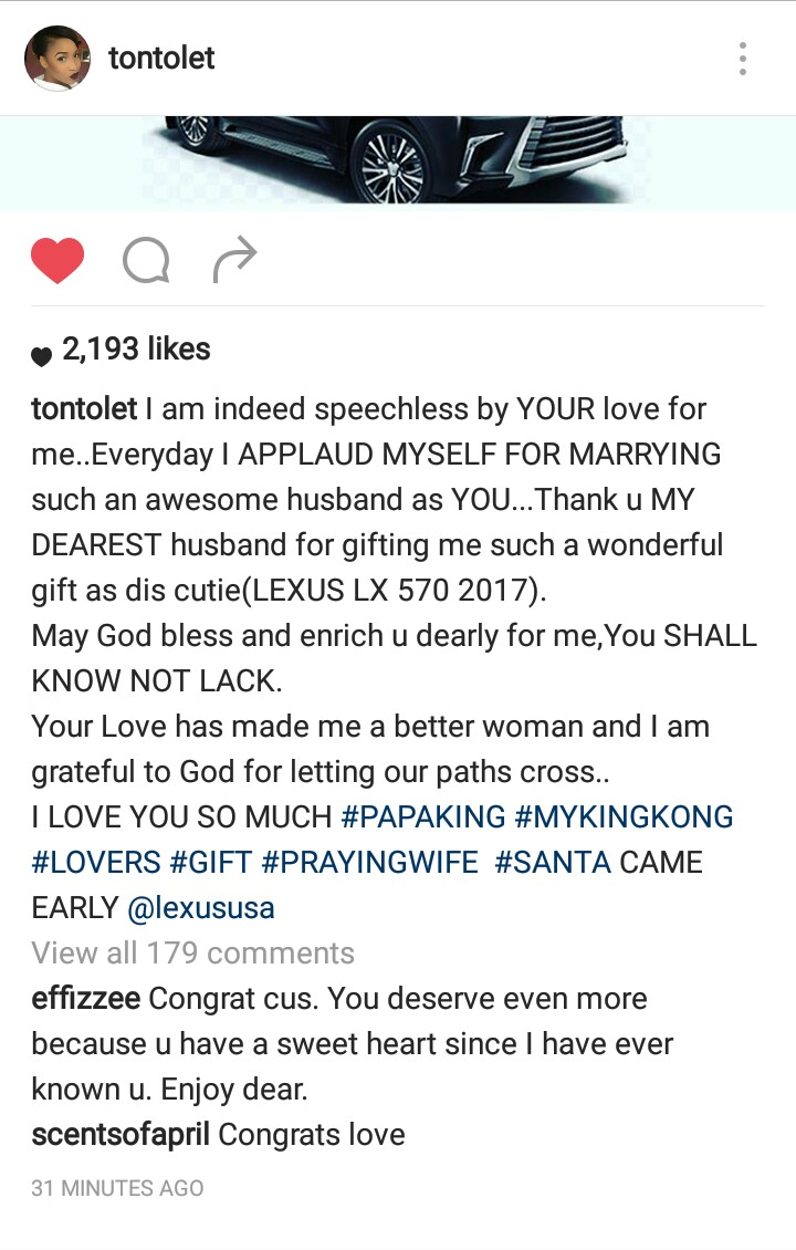 Tonto Dikeh Receives 2017 Lexus Jeep From Husband