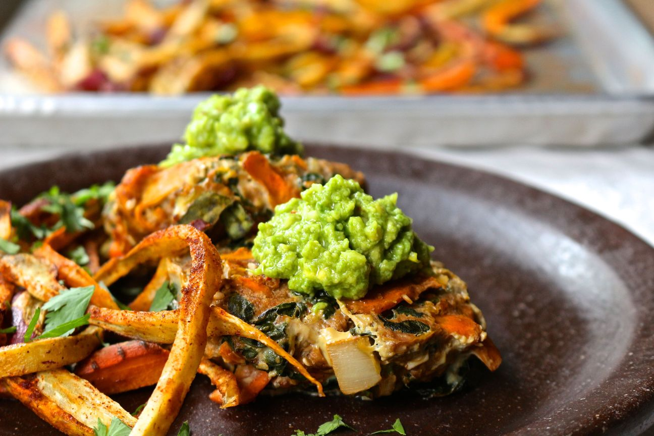 Loaded Veggie Beef Burgers with Spicy Sweet Potato Fries & Guacamole ...