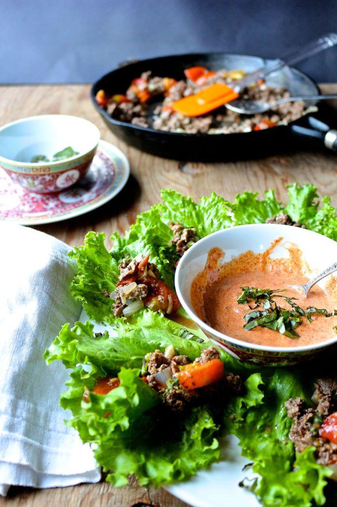 mexi bison lettuce wraps