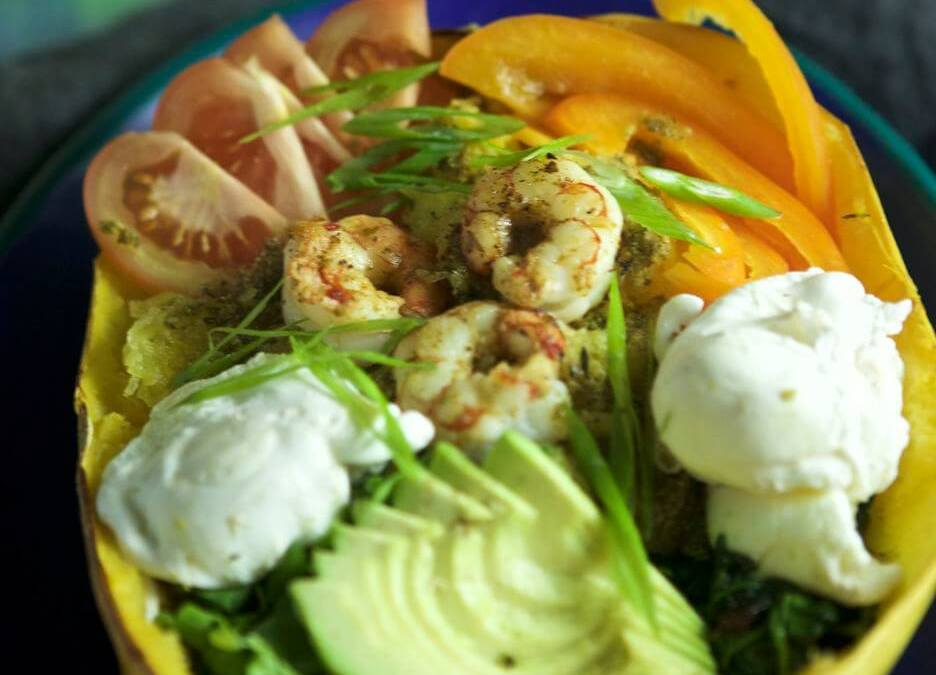Spaghetti Squash Pesto Shrimp Breakfast Bowls