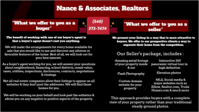 Buyer agent and seller agent services - Nance & Associates, Realtors